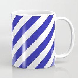 Diagonal Stripes (Navy Blue & White Pattern) Coffee Mug