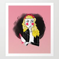 50s Art Prints featuring 50s Rebel by Rebecca Span