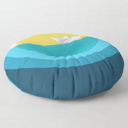 Paper boat in the sea Floor Pillow
