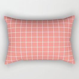 Coral pink - pink color - White Lines Grid Pattern Rectangular Pillow
