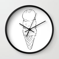 icecream Wall Clocks featuring Icecream by Carolin Vogt