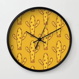 Pizza And Cactus Love Wall Clock