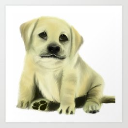 Chubby Puppy on a White Background Art Print