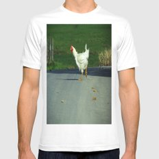 Why did the chicken cross the road? White Mens Fitted Tee MEDIUM