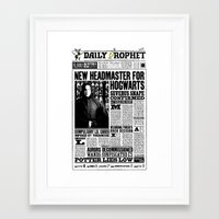 """snape Framed Art Prints featuring Daily Prophet """"NEW Head Master, Severus Snape"""" by Win Graphics"""