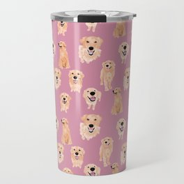 Golden Retrievers on Pink Travel Mug