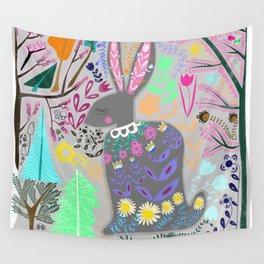 Folk Art Rabbit (grey background) Wall Tapestry