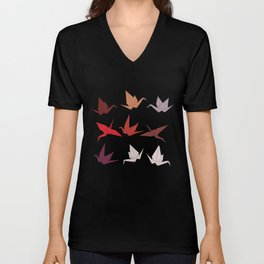 Japanese Origami paper cranes symbol of happiness, luck and longevity, sketch Unisex V-Neck
