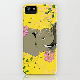 Lucky Elephant in Yellow iPhone Case