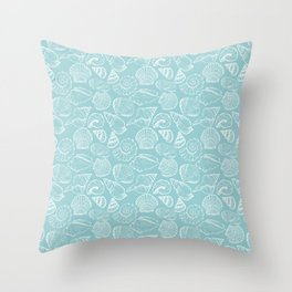 sea shells on blue Throw Pillow