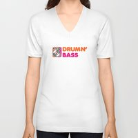 bass V-neck T-shirts featuring Drumn' Bass  by Jonah Makes Artstuff