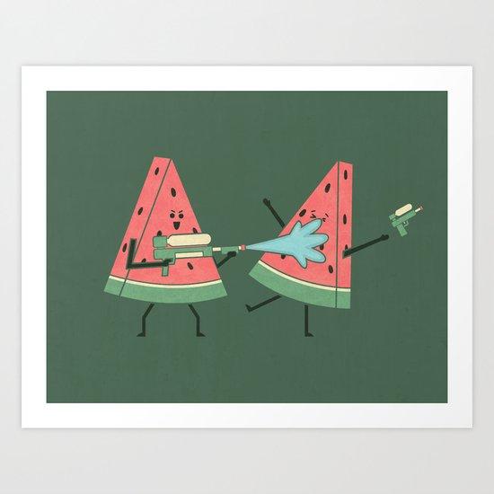 Water Fight Art Print