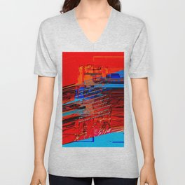 Cells Interlinked - Bold Red and Blue Unisex V-Neck