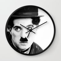 charlie chaplin Wall Clocks featuring Charlie Chaplin by Thousand Lines Ink