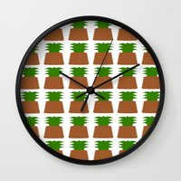 pineapples Wall Clocks featuring Pineapples by Justbyjulie