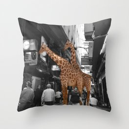 Safary in City. African Invasion. Throw Pillow