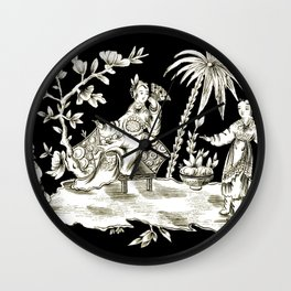 Black & White Chinoiserie Wall Clock