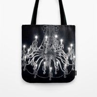 chandelier Tote Bags featuring Chandelier by Ink and Paint Studio