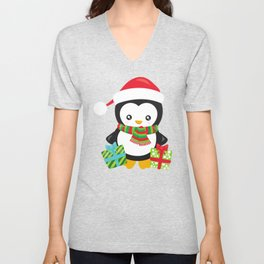 Christmas Penguin, Penguin With Gifts, Presents Unisex V-Neck