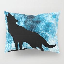 Howling Winter Wolf snowy blue smoke Pillow Sham