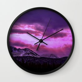 Chugach Mountains in Purple - II Wall Clock