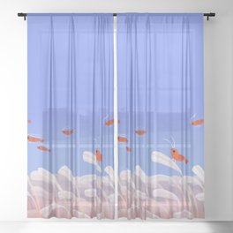 Flying cherry shrimp Sheer Curtain