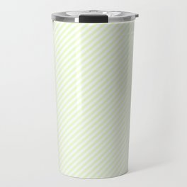 Mini Soft Pale Celery Green Pastel and White Candy Cane Stripes Travel Mug
