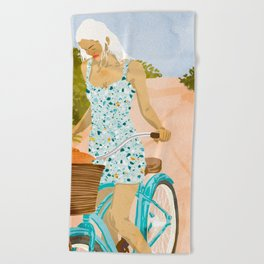 Biking In The Woods #illustration #painting Beach Towel