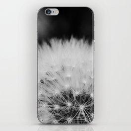 black and white dandelion iPhone Skin