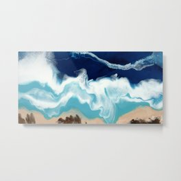 Tsambou, Samos beach, Greece, Resin abstract painting, Seascape art Metal Print