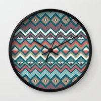 aztec Wall Clocks featuring Aztec. by Priscila Peress