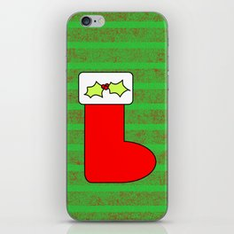 Christmas stocking with holly iPhone Skin