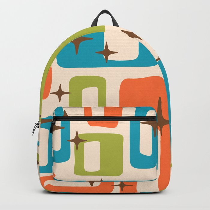 Retro Mid Century Modern Abstract Pattern 921 Orange Chartreuse Turquoise Rucksack