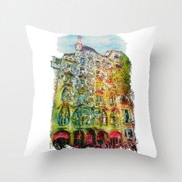 Casa Batllo Barcelona Throw Pillow