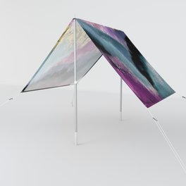 Gemini: a vibrant, colorful abstract piece in gold, purple, blue, black, and white Sun Shade
