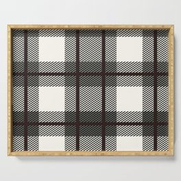 Plaid White And Brown Lumberjack Flannel Serving Tray