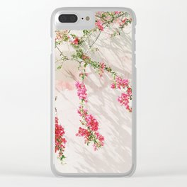 Sunkissed pink flowers on textured wall Clear iPhone Case