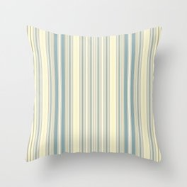 Seafoam Green Yellow Stripes Throw Pillow