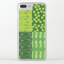 Patchwork made out of eight author images in green colors Clear iPhone Case