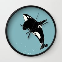killer whale Wall Clocks featuring Killer whale art by ialbert