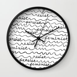 Resist Persist Feminist Wall Clock