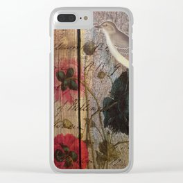 wood grain vintage bird french scripts poppy flower botanical art Clear iPhone Case