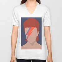 bowie V-neck T-shirts featuring Bowie by Zoebellsmith