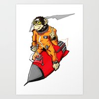 rocket chimp Art Print