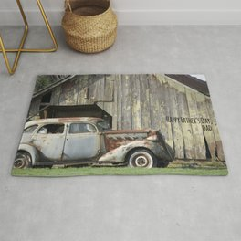Happy Father's Day Dad Vintage Automobile and Weathered Barn Rug