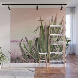 Agave in the Garden on Pastel Coral Wall Mural