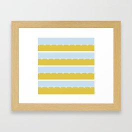 Cream Mustard Blue Stripe Framed Art Print