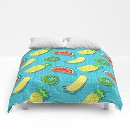 Pool Party pineapple, watermelon,banana,kiwi Comforters