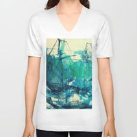 ship V-neck T-shirts featuring Ship by Hilary Dow