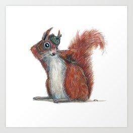 Squirrels' hat Art Print